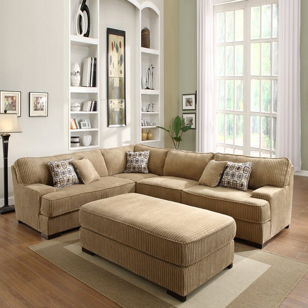 Tara Chocolate Corduroy Sectional Set Free Shipping