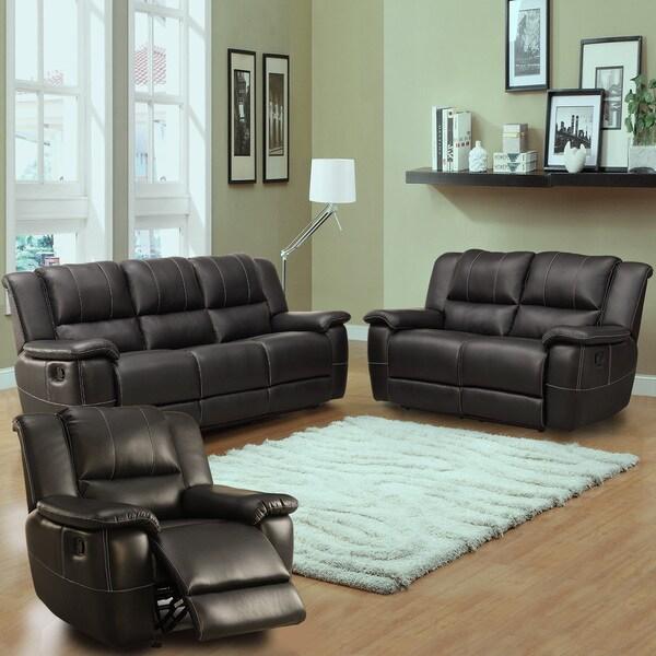 Griffin Black Bonded Leather Transitional 3-piece Living Room Set