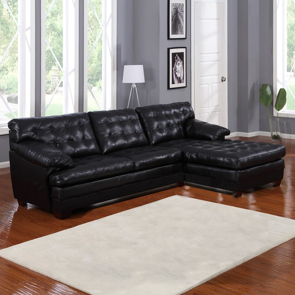 Lucian Black Leather Sectional