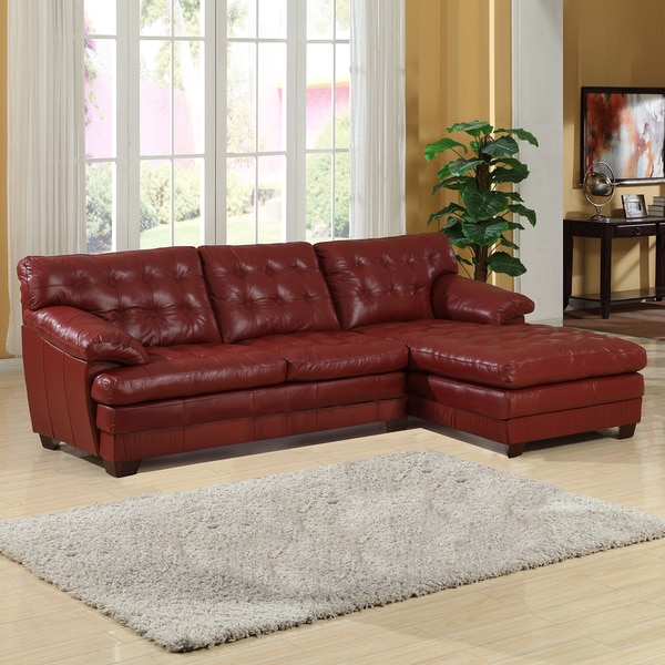 Lucian Red Leather Sectional