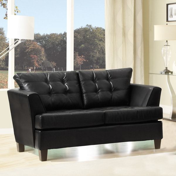 Dawson Black Bonded Leather Loveseat