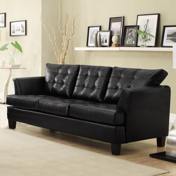 Dawson Black Bonded Leather Sofa