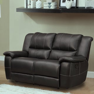 Griffin Black Bonded Leather Oversized Double Recliner Loveseat by TRIBECCA HOME