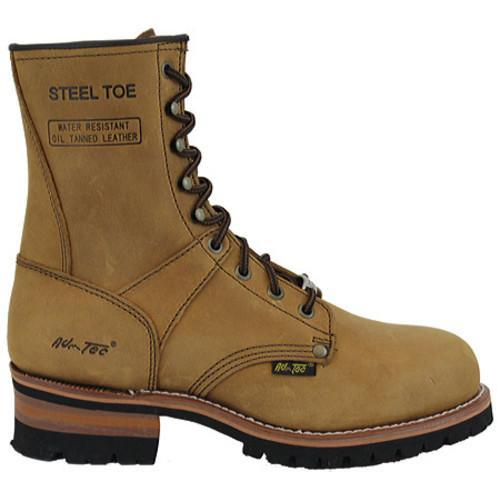 Men's AdTec 1740 Logger Boots 9in Steel Toe Brown - Thumbnail 1