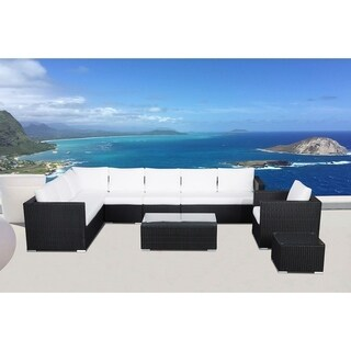 7 Piece Rattan Wicker Sectional Set with Cushions - GENEROSO