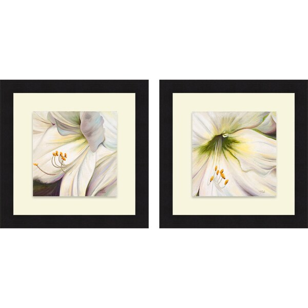 Patricia Pinto 'White Lily I & II' Framed Print