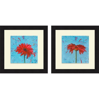 Patricia Pinto 'Blue Tiny Flower Square I & II' Framed Print