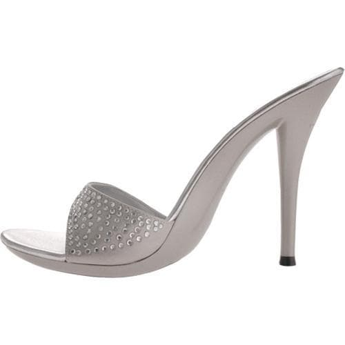 Women's Highest Heel Barbie Silver Satin - Thumbnail 2