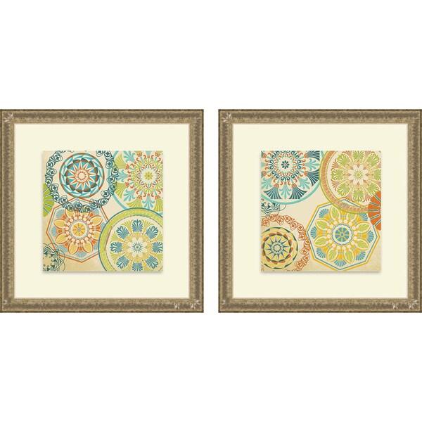 Sd Graphics Studio 'Spirographics Square I & II' Framed Print