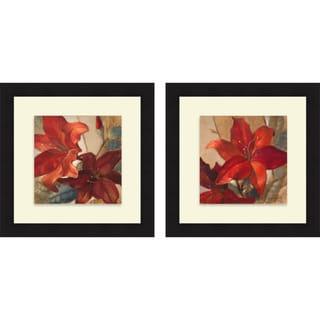 Lanie Loreth 'Crimson Fleurish I & II' Framed Print