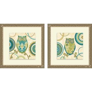 Veronique Charron 'Owl Forest I & II' Framed Print