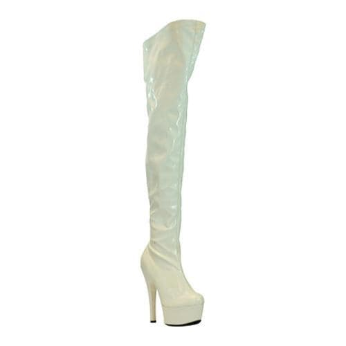 Women's Highest Heel Legend White Patent Stretch - Thumbnail 0