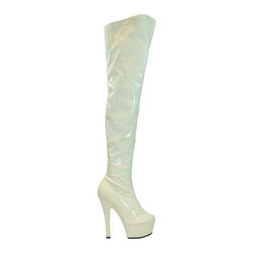 Women's Highest Heel Legend White Patent Stretch - Thumbnail 1