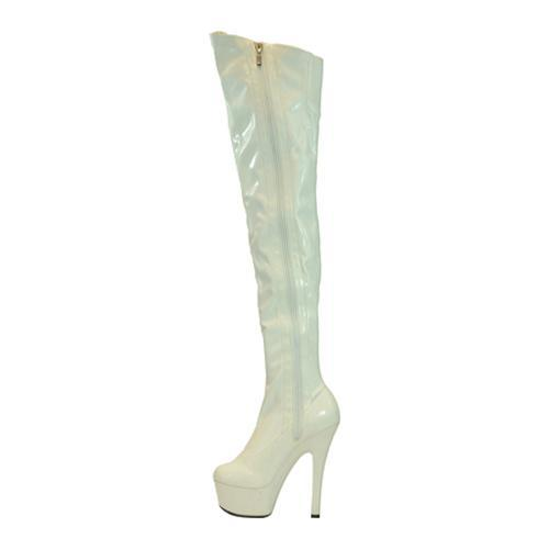 Women's Highest Heel Legend White Patent Stretch - Thumbnail 2