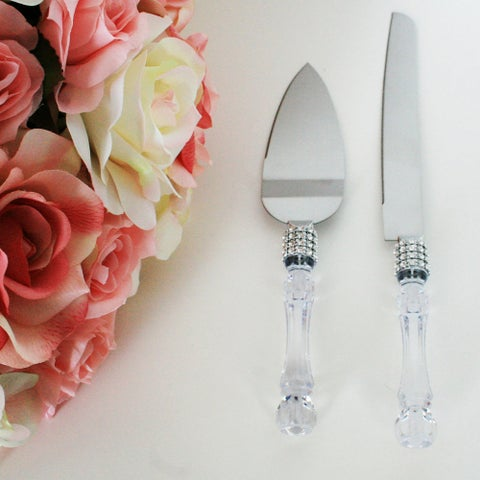 Universal Wedding Party Cake Knife Server Set with Faux Crystal Handle and Diamond Accents