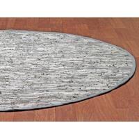 Hand-woven Matador White Leather Rug (6' Round) - 6' x 6'