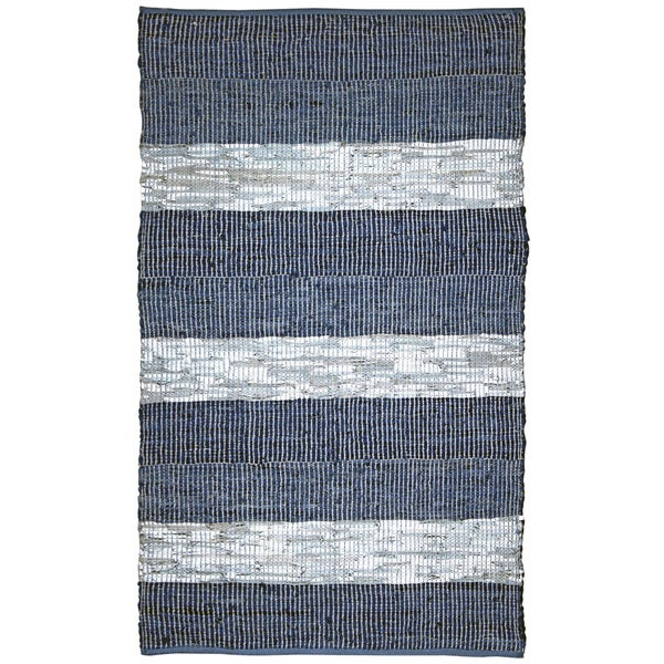 Hand-woven Matador Blue Stripe Leather Rug (4' x 6')