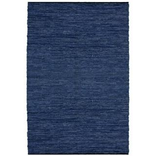 Hand-woven Matador Blue Leather Rug (9' x 12')