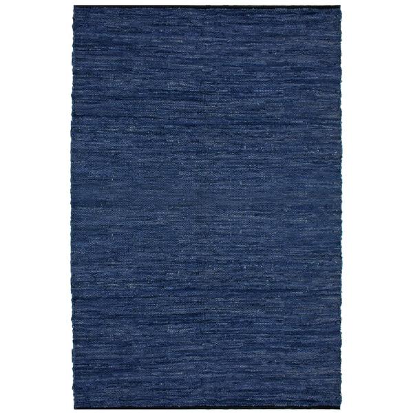 Hand-woven Matador Blue Leather Rug (9' x 12') - 9' x 12'