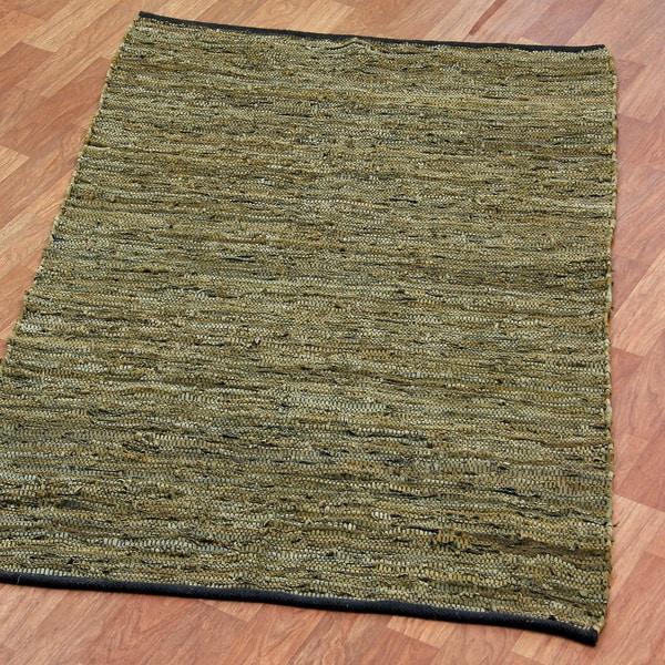 Hand-woven Matador Green Leather Rug (9' x 12') - 9' x 12'