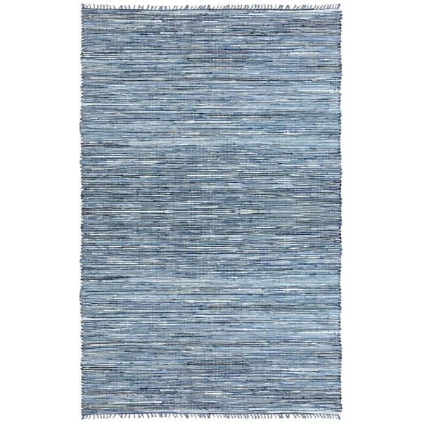 Hand-woven Matador Blue Denim/ Leather Rug (9' x 12')