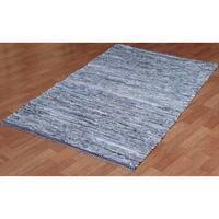Hand-woven Matador Blue Denim/ Leather Rug (9' x 12') - 9' x 12'