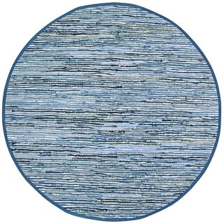 Hand-woven Matador Blue Denim/ Leather Rug (8' Round)