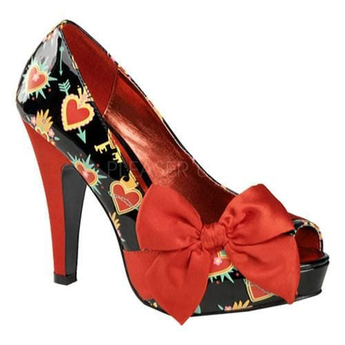 Women's Pin Up Bettie 13 Black Sacred Heart Patent Leather/Red Satin