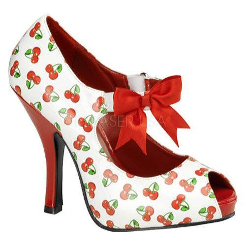 Women's Pin Up Cutiepie 07 White/Red Cherry Patent Leather