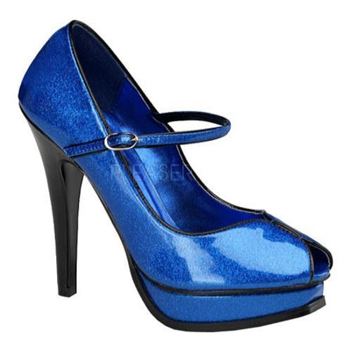 Women's Pin Up Pleasure 02G Blue Pearlized Glitter Patent Leather