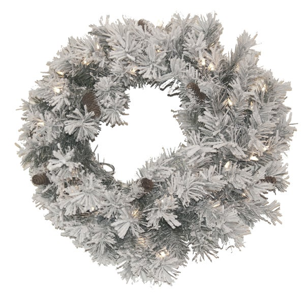 24-Inch Pre-Lit Christmas Wreath Flocked With Cones