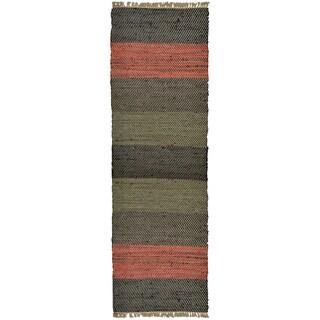 Hand-woven Matador Leather Stripe Runner Rug (2'6 x 12')