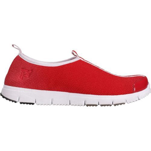 Women's Propet Travel Walker Slip-On Red Stretch Mesh - Thumbnail 1