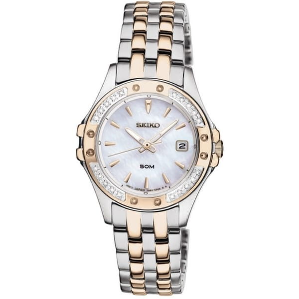 Seiko Women's Dress Mother Of Pearl Dial Gold Diamond Watch