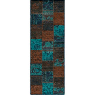 Vintage Ridge Patchwork Indigo New Zealand Wool Rug (1'8 x 2'8)