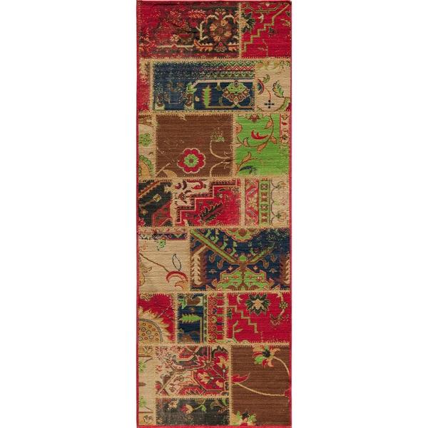 "Vintage Wyler Patchwork Multi New Zealand Wool Rug (1'8"" x 2'8"")"