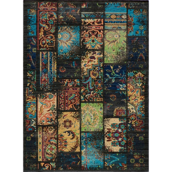 "Vintage Clyde Charcoal Patchwork New Zealand Wool Rug (1'8"" x 2'8"")"