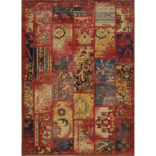 "Vintage Clyde Raspberry Patchwork New Zealand Wool Rug (1'8"" x 2'8"")"