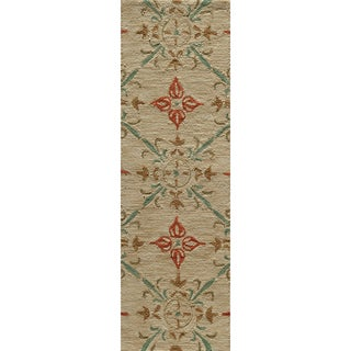 Copia Medallions Beige Hand-Hooked Polyester Rug