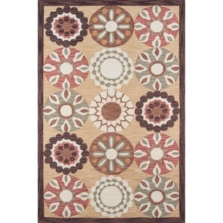 Copia Pinwheel Gold Hand-Hooked Polyester Rug