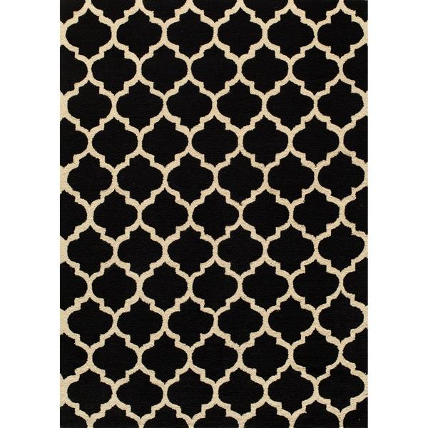 Casablanca Black Hand-hooked Rug (2' x 3')