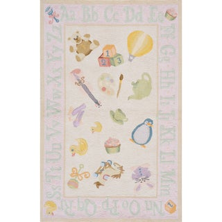 Momeni Lil Mo Classic Soft Pink Classic Toys Hand-Hooked Cotton Rug (2' X 3')