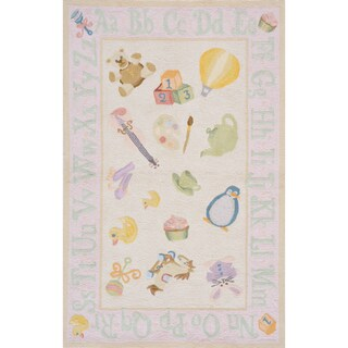 Momeni Lil Mo Classic Soft Pink Classic Toys Hand-Hooked Cotton Rug (2' X 3') (More options available)