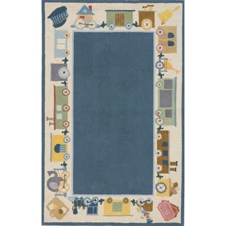 Momeni 'Lil Mo Classic Cho Cho Train Blue Cotton Rug