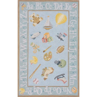 Momeni 'Lil Mo Classic Toys Baby Blue Cotton Rug