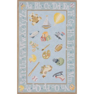 Momeni Lil Mo Classic Baby Blue Classic Toys Hand-Hooked Cotton Rug (2' X 3')