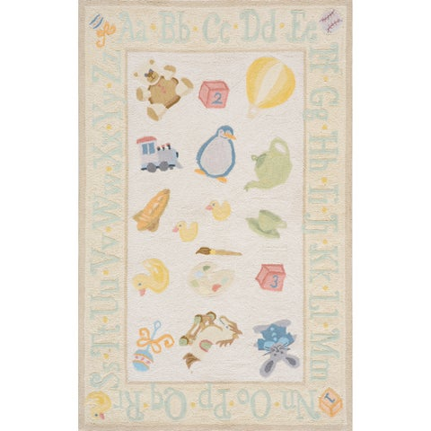 Momeni Lil Mo Classic Pale Yellow Classic Toys Hand-Hooked Cotton Rug (2' X 3')