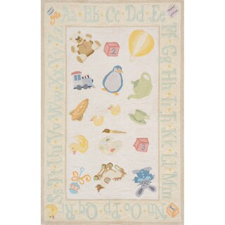 Momeni Lil Mo Classic Pale Yellow Classic Toys Hand-Hooked Cotton Rug (2' X 3') (3 options available)