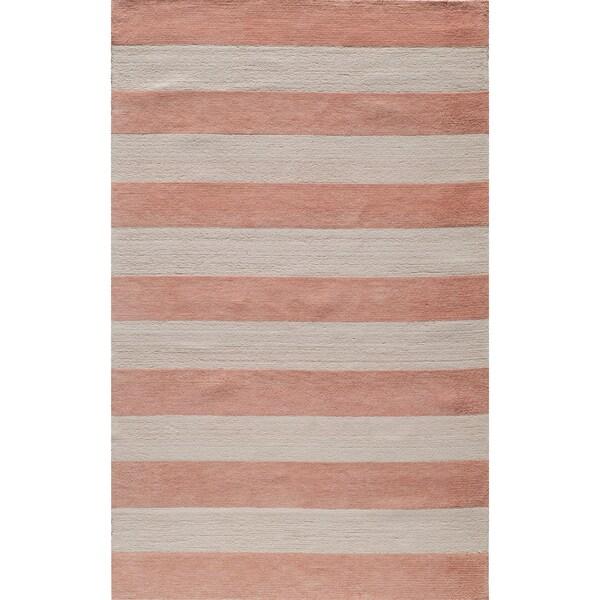 Shop Momeni Lil Mo Classic Pink Cabana Stripe Hand Hooked