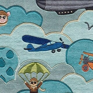 Momeni Lil Mo Whimsy Sky Aviator Hand-Tufted and Hand-Carved Rug (3 x 5 - Sky)
